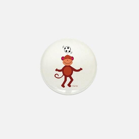 Monkey at Soccer - Head Bounce Mini Button