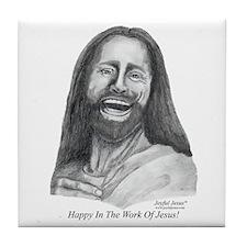 JJ- Happy in the Work of Jesu Tile Coaster