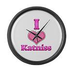 I Heart Katniss 1 Large Wall Clock