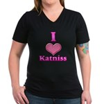I Heart Katniss 1 Women's V-Neck Dark T-Shirt