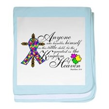Autism ribbon with Cross baby blanket