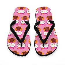 Owl Pink Flip Flops