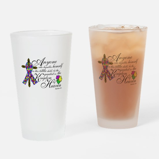 Autism ribbon with Cross Drinking Glass