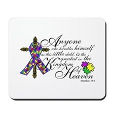 Autism ribbon with Cross Mousepad