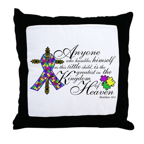 Autism ribbon with Cross Throw Pillow