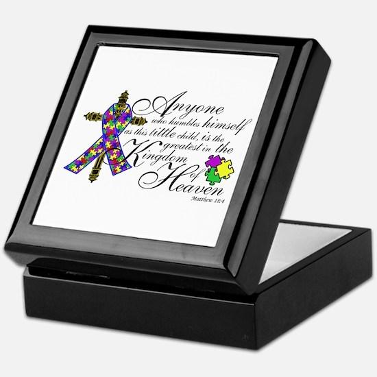 Autism ribbon with Cross Keepsake Box