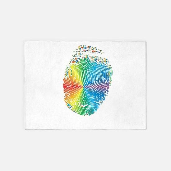 LGBT pride rainbow fingerprint 5'x7'Area Rug