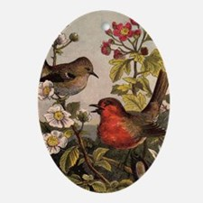 Vintage Robin Birds Ornament (Oval)