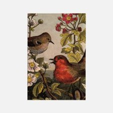 Vintage Robin Birds Rectangle Magnet