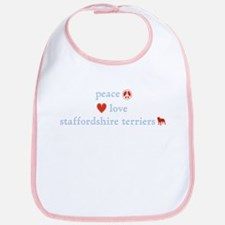 Peace, Love and Staffordshire Terrier Bib