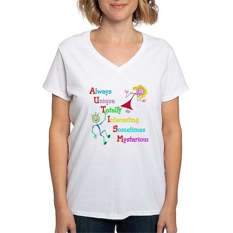 Autism, Always Unique Women's V-Neck T-Shirt