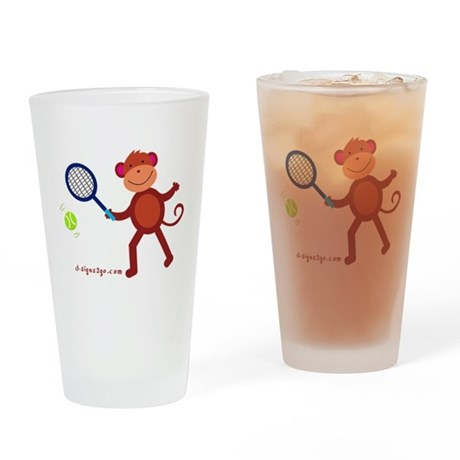 Monkey at Tennis Drinking Glass