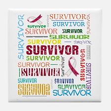 Survivor Throat Cancer Tile Coaster