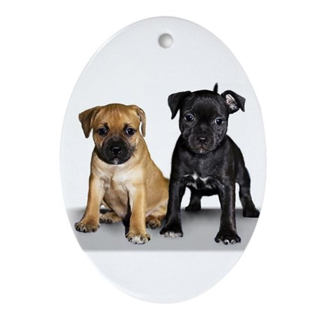 Staffie puppies Ornament (Oval)