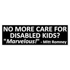 Marvelous Mitt Romney Disability Bumper Bumper Sticker