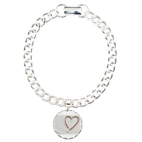 Beach Wedding Heart of Sand Charm Bracelet, One Ch