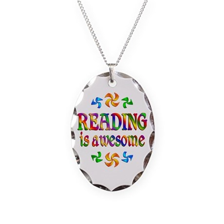Reading is Awesome Necklace Oval Charm