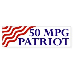 50 mpg patriot (flag bumper sticker)