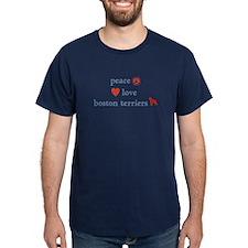 Peace, Love & Boston Terriers T-Shirt