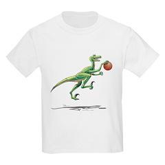 Raptor with Basketball Kids Dinosaur T-Shirt