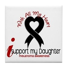 With All My Heart Melanoma Tile Coaster