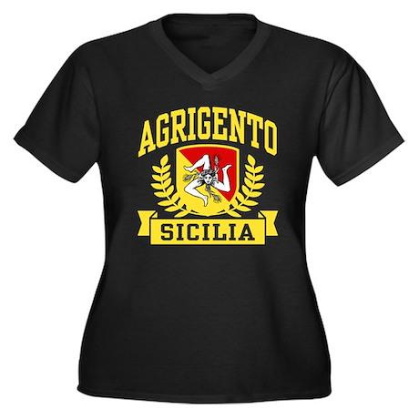 Agrigento Sicilia Women's Plus Size V-Neck Dark T-