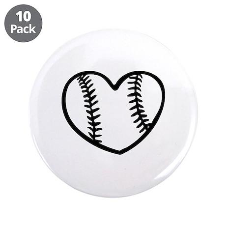 """Baseball heart 3.5"""" Button (10 pack)"""