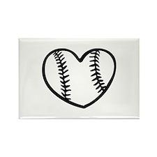 Baseball heart Rectangle Magnet