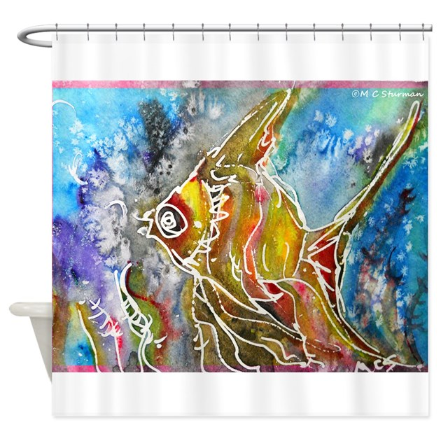 Tropical fish colorful art shower curtain by mctropicalfish2 for Tropical fish shower curtain