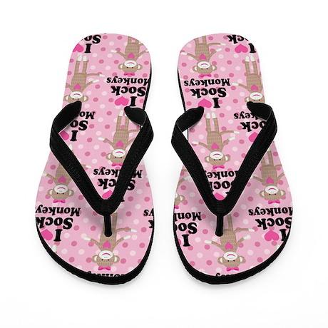 I Heart Sock Monkeys Flip Flops