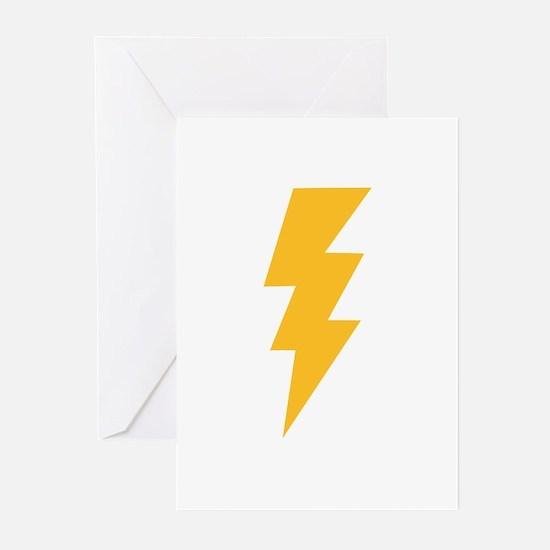 Yellow Flash Lightning Bolt Greeting Cards (Pk of