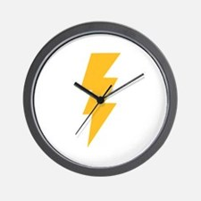 Yellow Flash Lightning Bolt Wall Clock