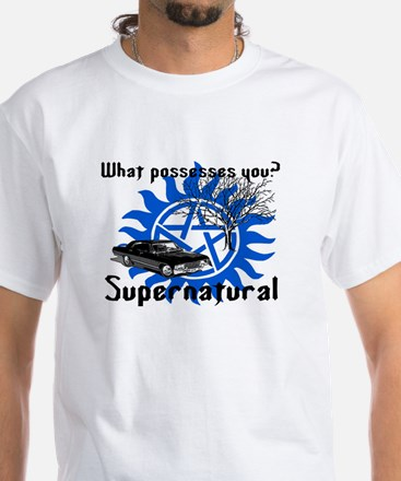 What possesses you?-blue White T-Shirt