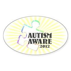 Autism Aware 2012 Sticker (Oval 50 pk)