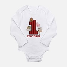 1st Birthday Farm Long Sleeve Infant Bodysuit
