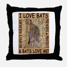 I Love Bats & Bats Love Me Throw Pillow