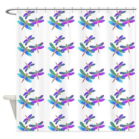 Iridescent Dragonflies on White Shower Curtain