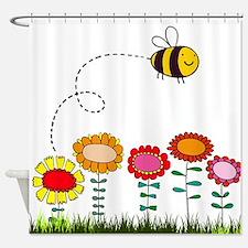 Bee Buzzing Flowers in Garden White Shower Curtain