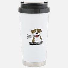 Smiling Pit Bull Tan Stainless Steel Travel Mug