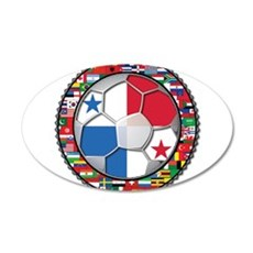 Panama Flag World Cup No Labe 22x14 Oval Wall Peel