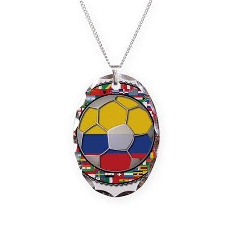 Colombia Flag World Cup No La Necklace Oval Charm