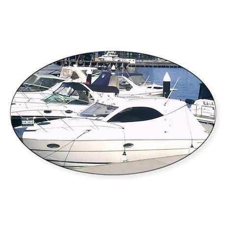Boating at Docklands Marina M Sticker (Oval 50 pk)