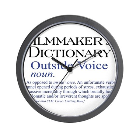 outside voice wall clock by filmmakertees