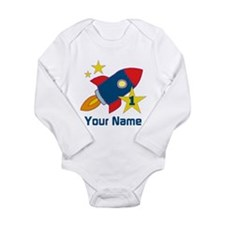 1st Birthday Rocket Long Sleeve Infant Bodysuit