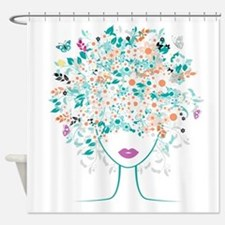 Floral Afro Shower Curtain
