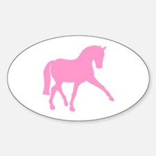 Sidepass Dressage Horse Pink Sticker (Oval)