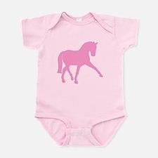 Sidepass Dressage Horse Pink Infant Bodysuit
