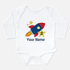2nd Birthday Rocket Long Sleeve Infant Bodysuit