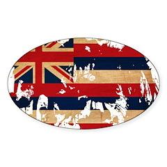 Hawaii Flag Sticker (Oval 10 pk)