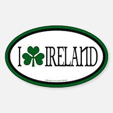I Love Ireland Euros Oval Decal